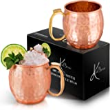 KoolBrew Moscow Mule Copper Mugs - Gift Set of 2, 100% Solid Handcrafted Copper Cups - 16 Ounce Food Safe Hammered Mug For Mu