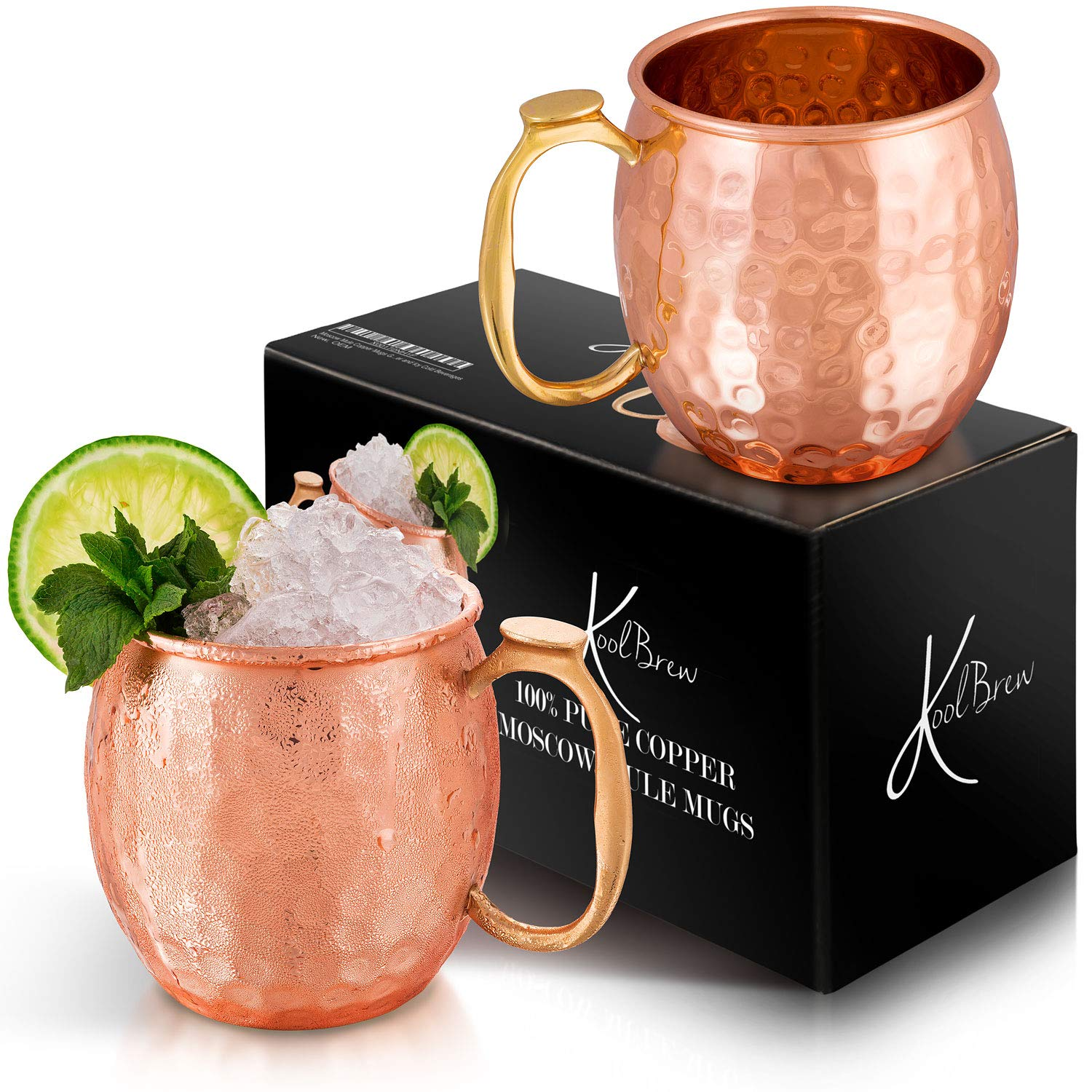 KoolBrew Moscow Mule Copper Mugs Gift Set of 2 Copper Mule Mugs,100% Pure Solid Copper Cups with Hammered Finish