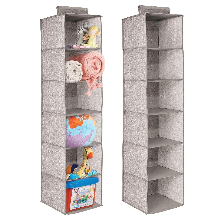 mDesign Organizador para colgar – Juego de 2 – Colgador de armario para ropa, toallas, jueguetes, organizador de accesorios – 6 estantes - Gris MetroDecor 7913MDB