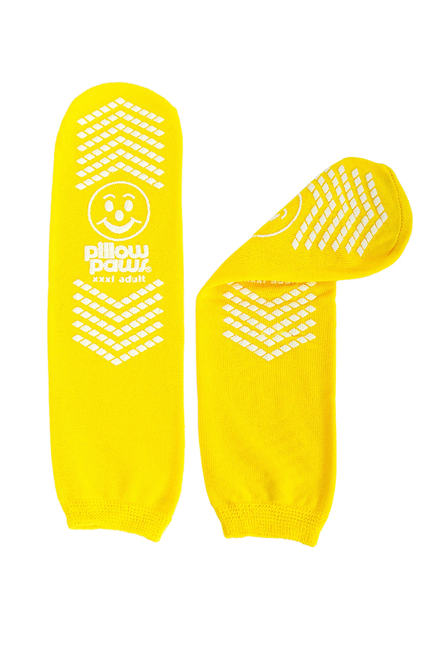 XXXL Slip Stopping Terrycloth Socks (Double Tread) (Extra Wide Bariatric) (Yellow) (3 Pairs) by Pillow Paws