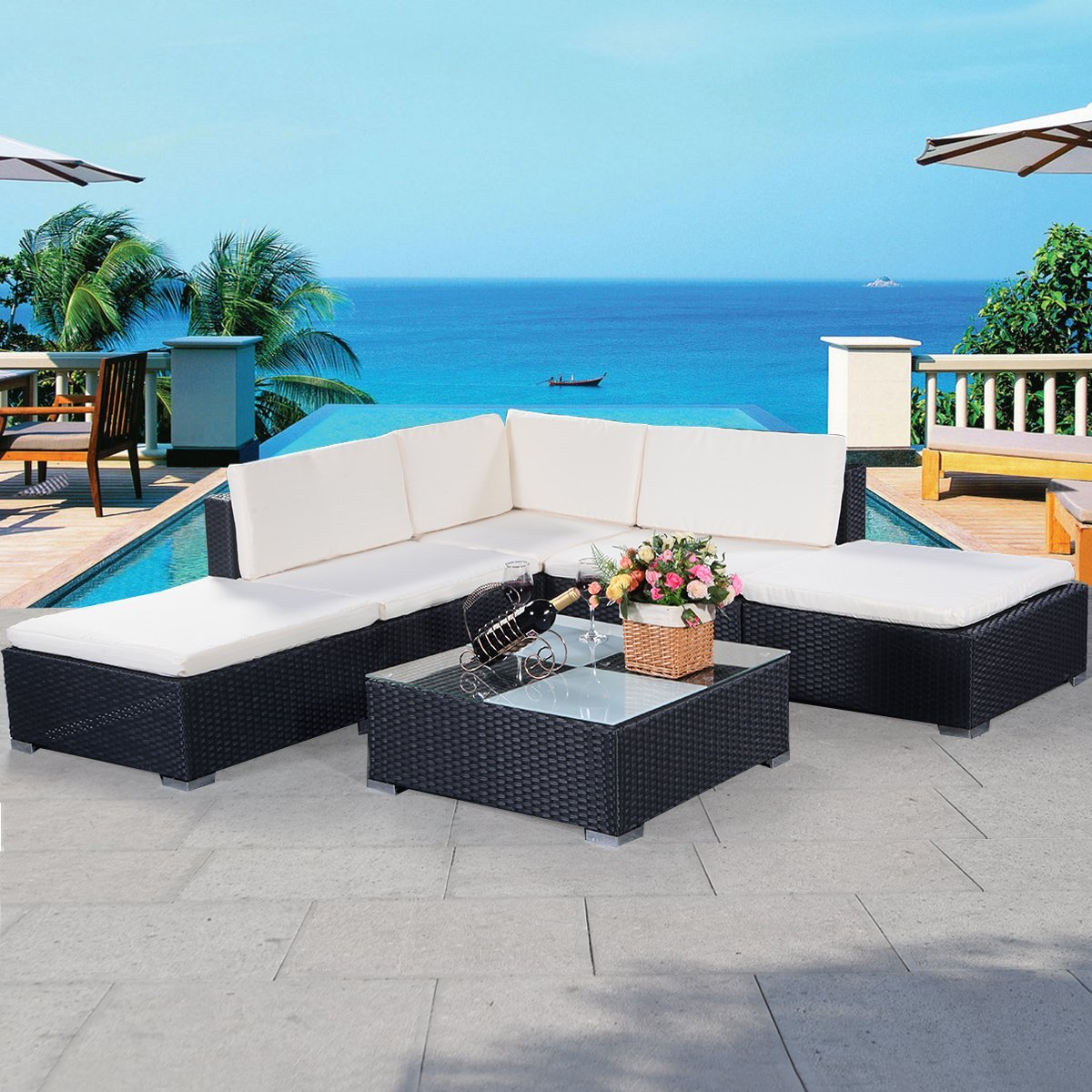 Amazon.de: COSTWAY Poly Rattan Rattanmöbel Gartenmöbel Lounge Set ...