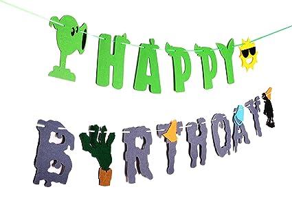 Amazon Com Ron Pt Plants Vs Zombies Birthday Banner Pvz Party