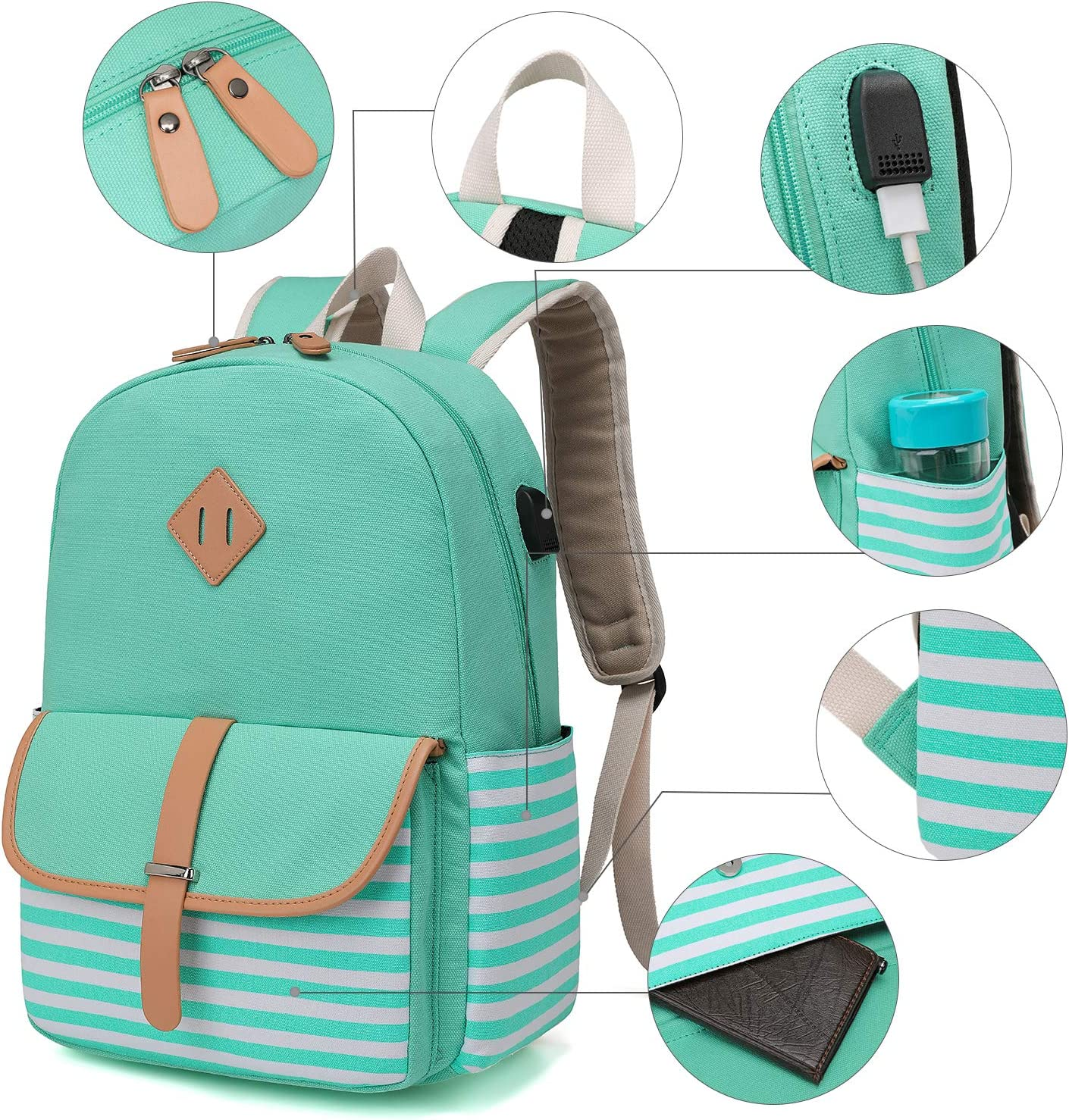 Leather Backpack Colorful Wind Surf Boat School College Bookbag Travel Office Bag Laptop Backpack for Women Men