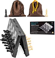 Travel Chess Set Magnetic Brisk Learner - Portable and Educational Kids Mini Toy Game - Foldable Board and 2 Cloth Bags Perf