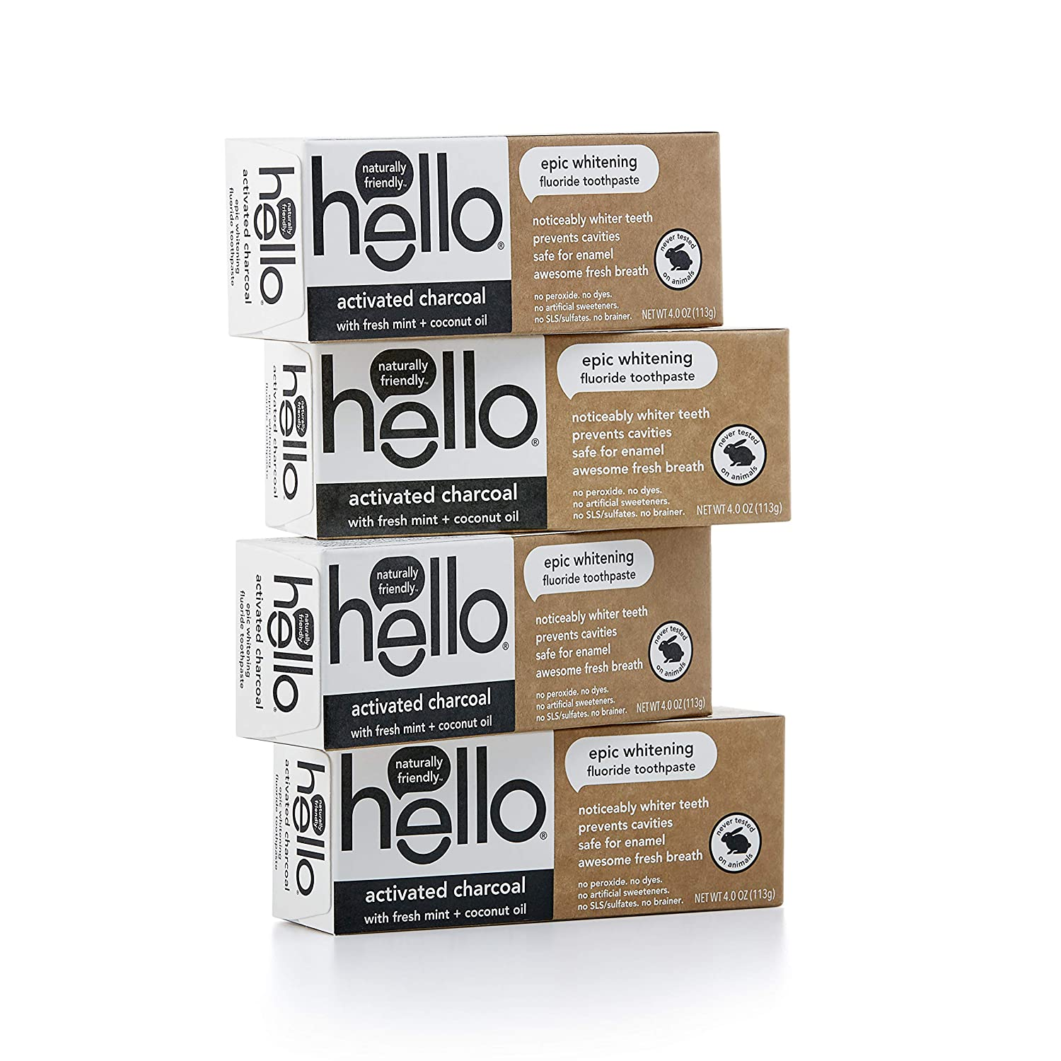 Hello Oral Care Activated Charcoal Fluoride Whitening Toothpaste, Vegan & SLS Free, 4Count