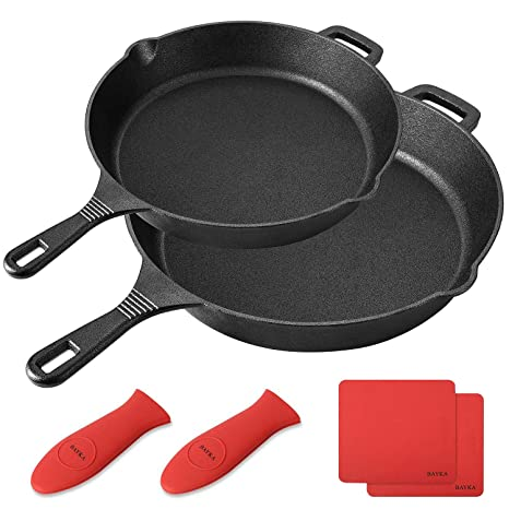 Bayka Cast Iron Skillet Pre Seasoned 10 12 Cast Iron Pans With 2 Heat Resistant Holders 2 Silicone Mats Oven Grill Stovetop Induction Safe