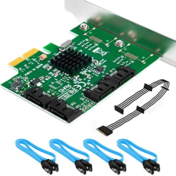 QNINE Tarjeta SATA Puerto Raid 4 con un Cable Divisor SATA y ...