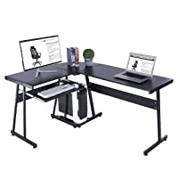 Deals on GreenForest L-Shaped Computer Desk w/ Keyboard Tray and CPU Stand