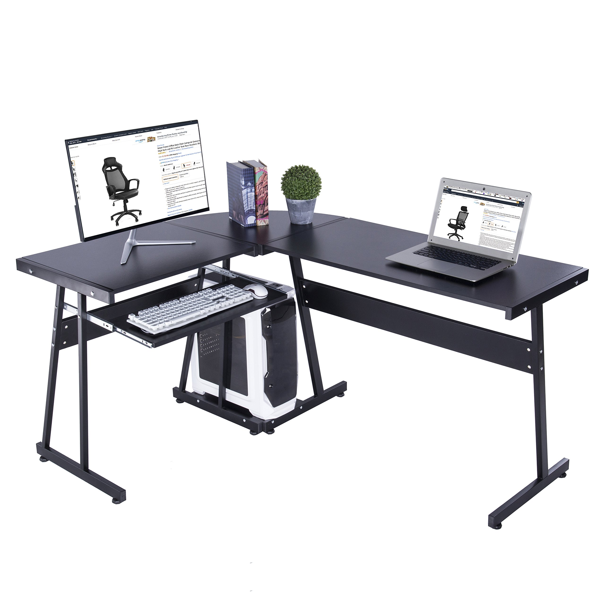 GreenForest L-Shaped Computer Desk with Keyboard Tray and CPU Stand for Home Office Gaming and Study,Black