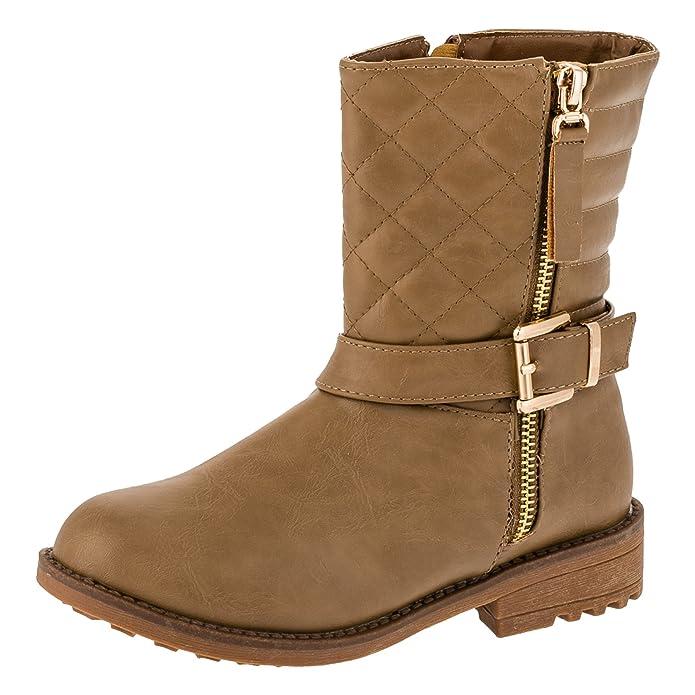 Mädchen Boots Stiefel mit Reissverschluss Winter Schuhe Stiefelette #252be Beige 34 xxBbeB5d