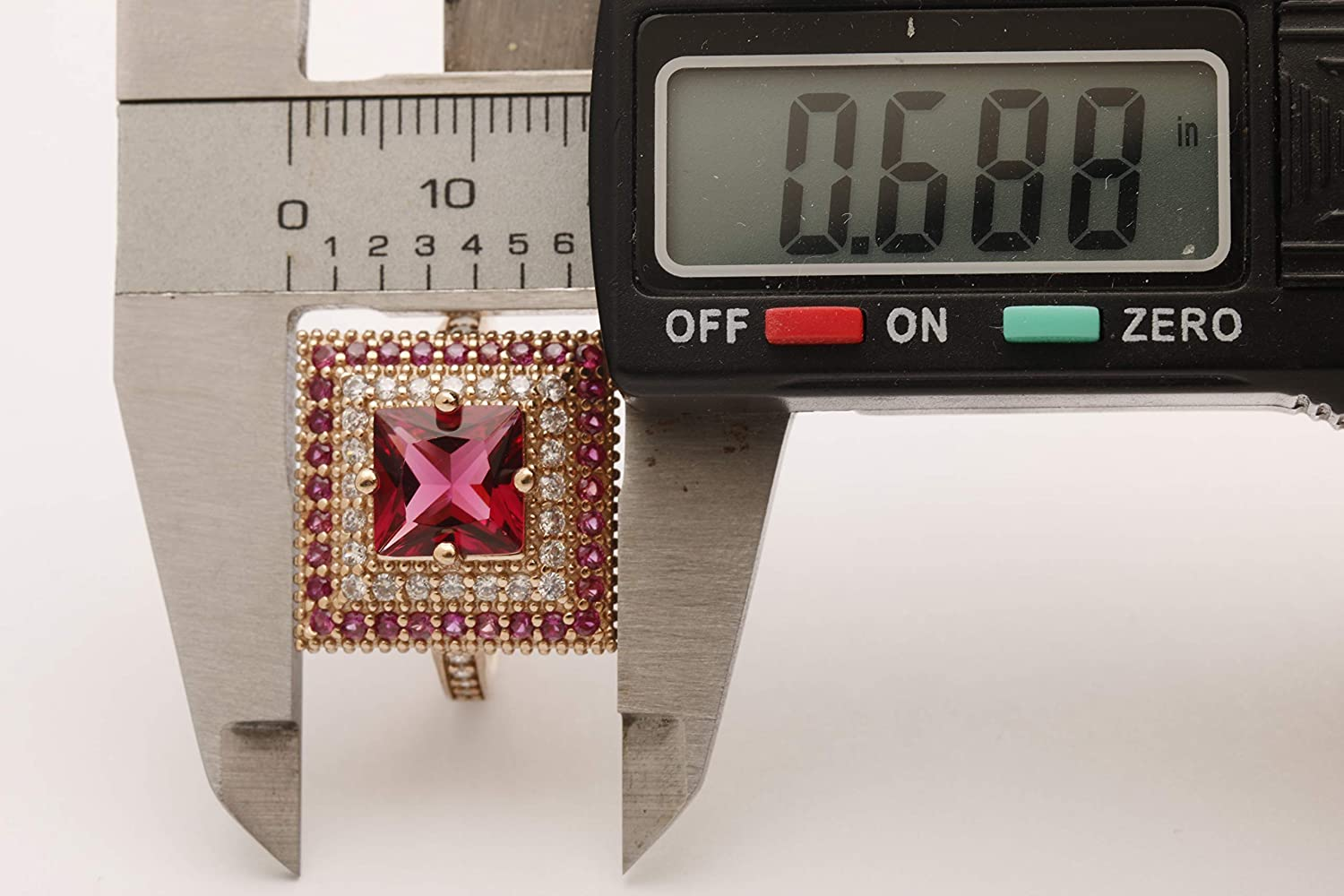 Turkish Handmade Jewelry Small Square Shape Pink Ruby and Round Cut Topaz 925 Sterling Silver Ring Size All