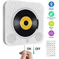 Portable CD Player with Bluetooth, Wall Mountable Built-in HiFi Speakers, Home Audio Boombox with Remote Control FM Radio USB MP3 3.5mm Headphone Jack AUX Input/Output with Pulling-Switch, White
