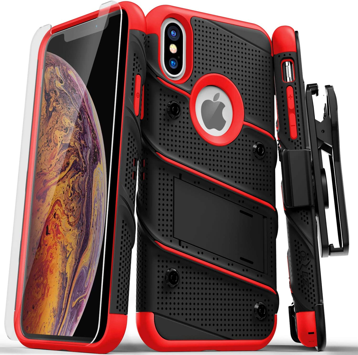 ZIZO Bolt Series for iPhone X Case Military Grade Drop Tested with Screen Protector, Kickstand and Holster iPhone Xs Black RED