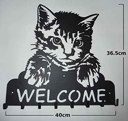 Diseño con texto en inglés de pared de hierro de gato con ...