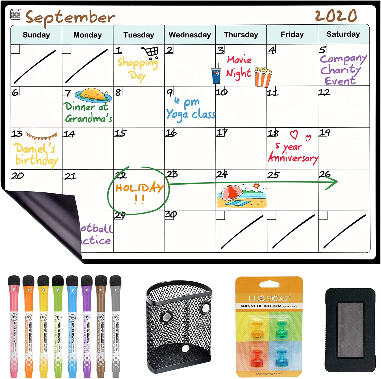 LUCYCAZ Fridge Calendar, Magnetic Dry Erase Board Grocery List Pad for Kitchen to Plan Shopping Meal Homework Housework for Adults Students and Housewife, 12''x 17''