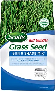Scotts Turf Builder Grass Seed Sun and Shade Mix, 40 lb. - Full Sun and Dense Shade - Spreads and Thickens for a Durable Lawn - Seeds up to 16,000 sq. ft.