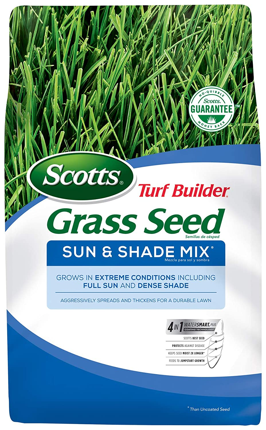 Scotts Turf Builder Grass Seed Sun & Shade Mix - 3 lbs | Grows In Extreme Conditions Including Full Sun & Dense Shade |Use to Seed New Lawn or Overseed Existing Lawn | Spreads & Thickens For A Durable Lawn