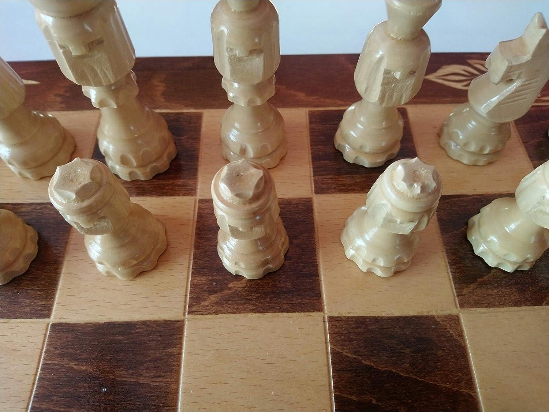 選ぶなら 特別なチェスの駒 と 刻の面、特別なハンガリーパターン花 Carved 44 x 44 Beech木製チェス盤ボックス、木製チェスセット、ボードゲーム、教育ゲーム、バックギャモン B01CX0ZSFG, カミカワマチ 88516ce0