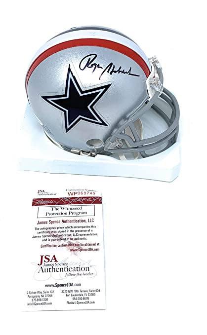 5a27403dee0 Roger Staubach Dallas Cowboys Signed Autograph Throwback Mini Helmet JSA  Witnessed Certified