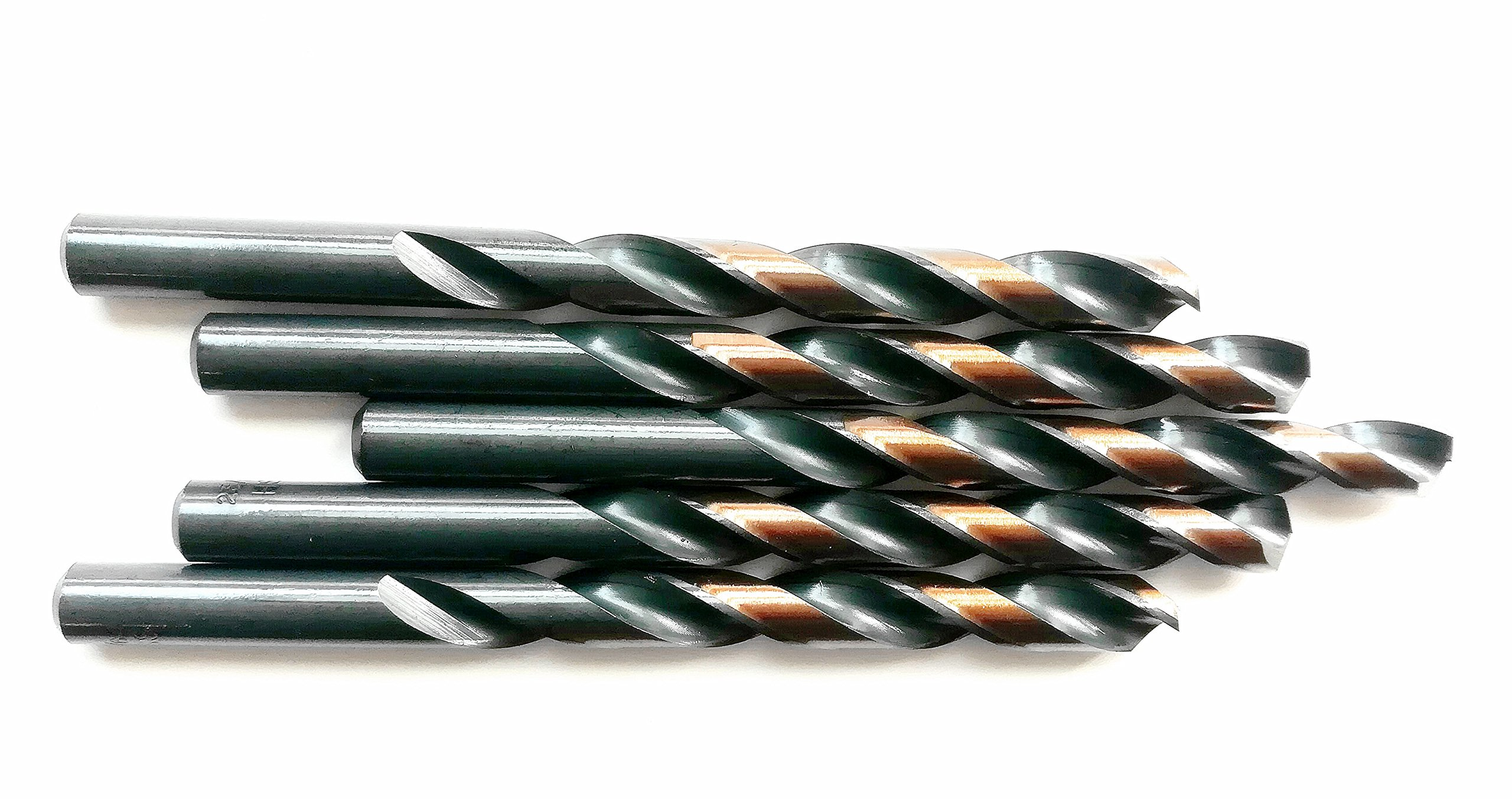 5PCS,7/16'', HSS Jobber Length Black and Gold Coated Twist Drill Bits, Metal drill, ideal for drilling on mild steel, copper, Aluminum, Zinc alloy etc. (7/16)