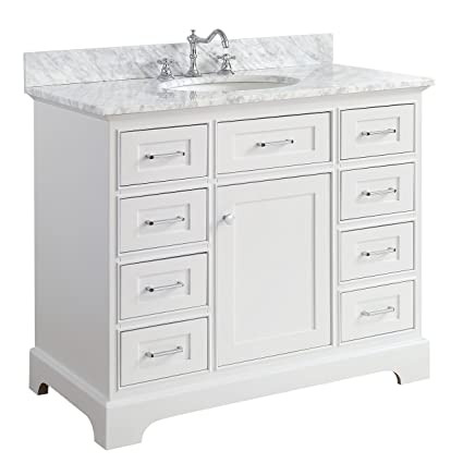 aria 42 inch bathroom vanity carrara white includes a white rh amazon com 42 inch white bathroom vanities 42 inch white single sink bathroom vanity