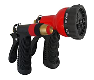 TABOR TOOLS Garden Hose Nozzle Set, 1 Water Pistol Nozzle and 7-Pattern Adjustable Shower Head. Features Grip Trigger Handles and Flow Control Knob. W91A. (Set of 2 Nozzles)