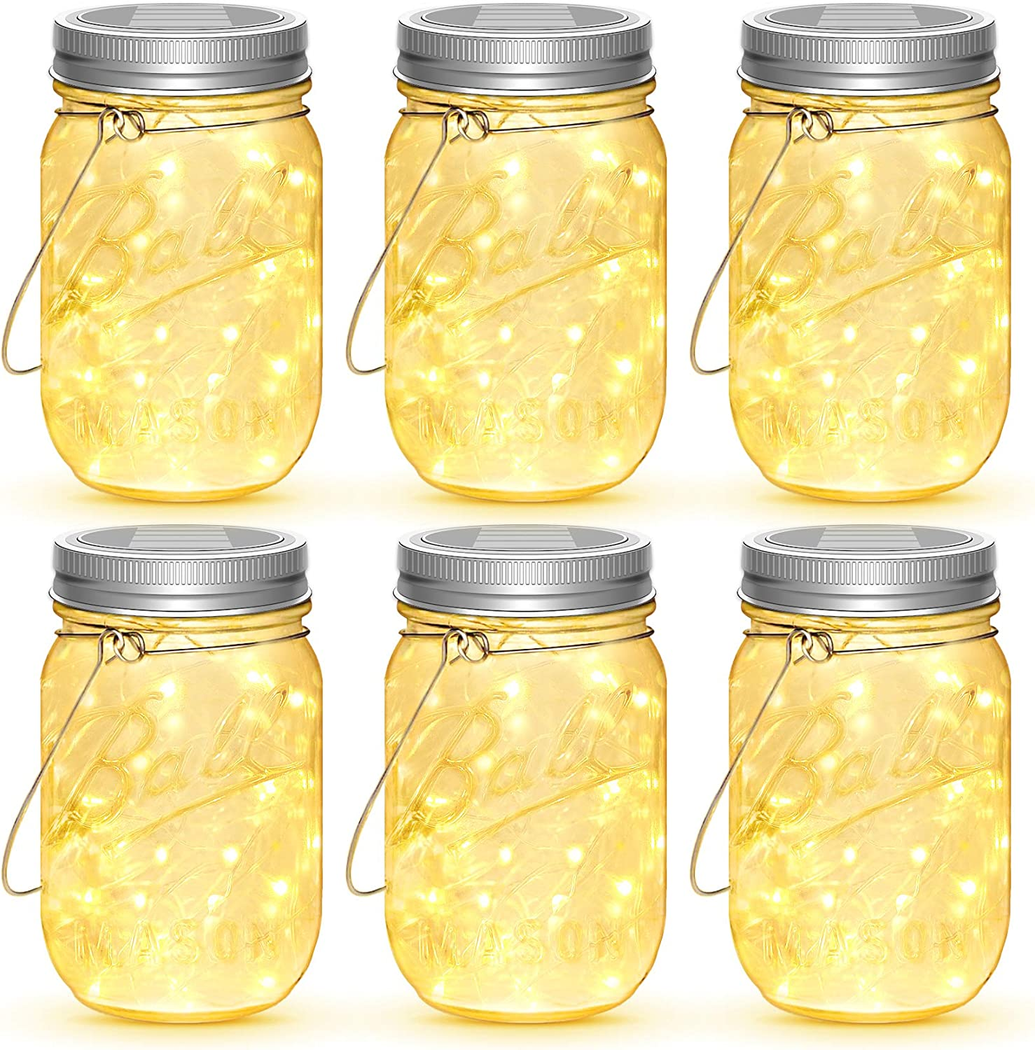 Mason Jar Solar Lights, 6 Pack 30 LEDs Fairy Lights with Jars and Hangers, IPX6 Waterproof Hanging Solar Lights Outdoor, Decorative Solar Lanterns for Garden Fence Patio Wedding