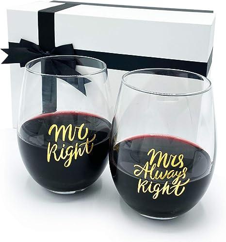 Regali Anniversario Di Matrimonio Per Lei.Gifffted Mr E Mrs Always Right Coppia Di Due Bicchieri Da Vino