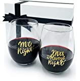 Gifffted Mr Right Mrs Always Right Wine Glasses, Wedding Gift, Couple Gifts for Anniversary, Engagement, His and Her…