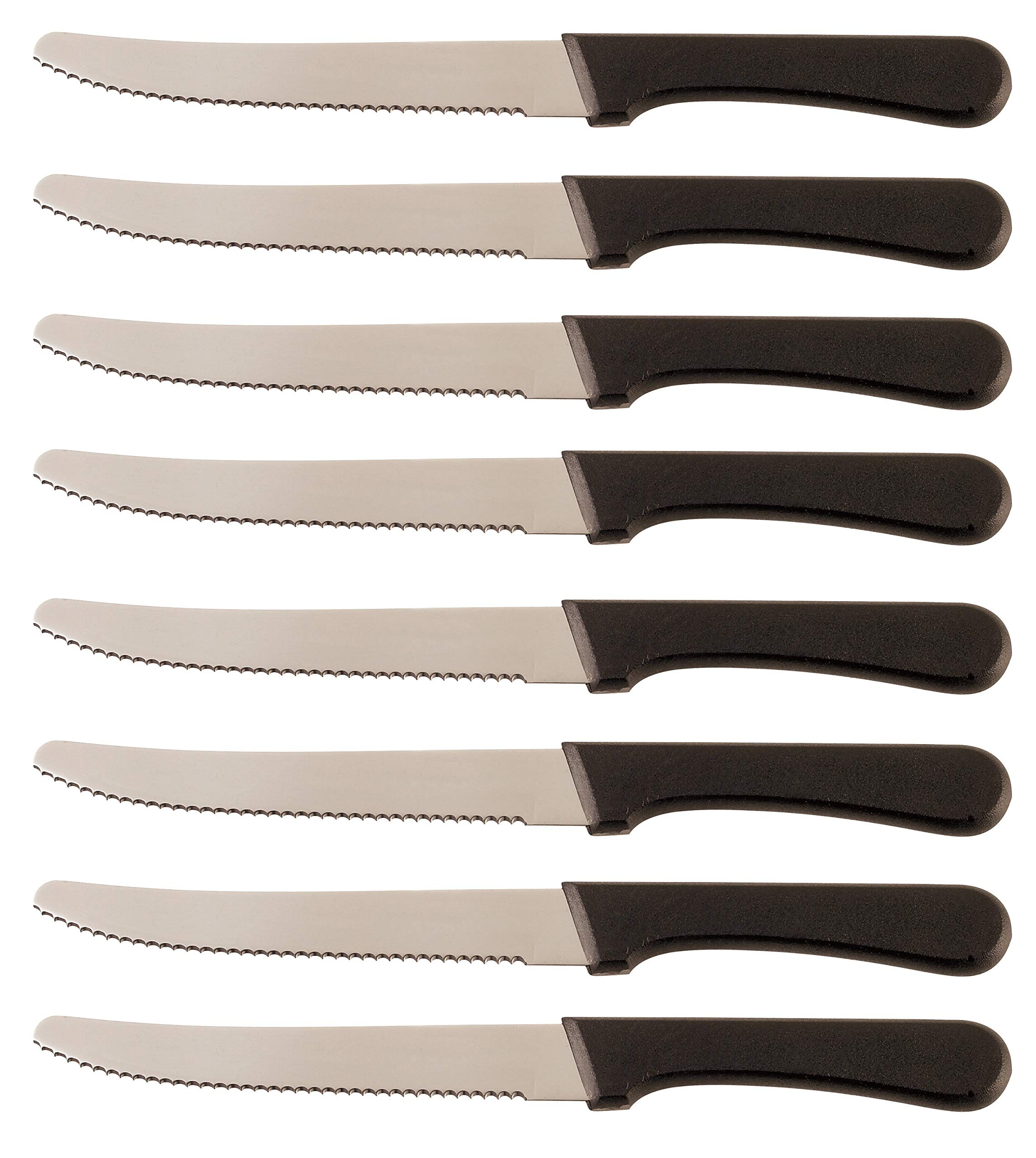 Steak Knives Serrated Set, Restaurant Quality, Stainless Steel, 4.25-Inch, Rounded Tip, Set of 8 (8) by Cooking on Mars