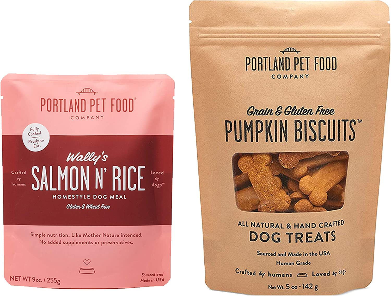 Portland Pet Food Company Holiday Dog Gift Combo Pack - Human Grade (1 x Meal Pouch & 1 x Biscuit Pack)
