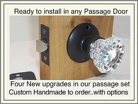 Custom Crystal Antique Replica ORRB Passage Door Knob Set Standard  2 3/8u0026quot;