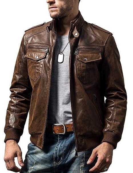 FLAVOR Chaqueta de Moto de Cuero marrón Retro de Motorista para Hombre Chaqueta de Cuero Genuino