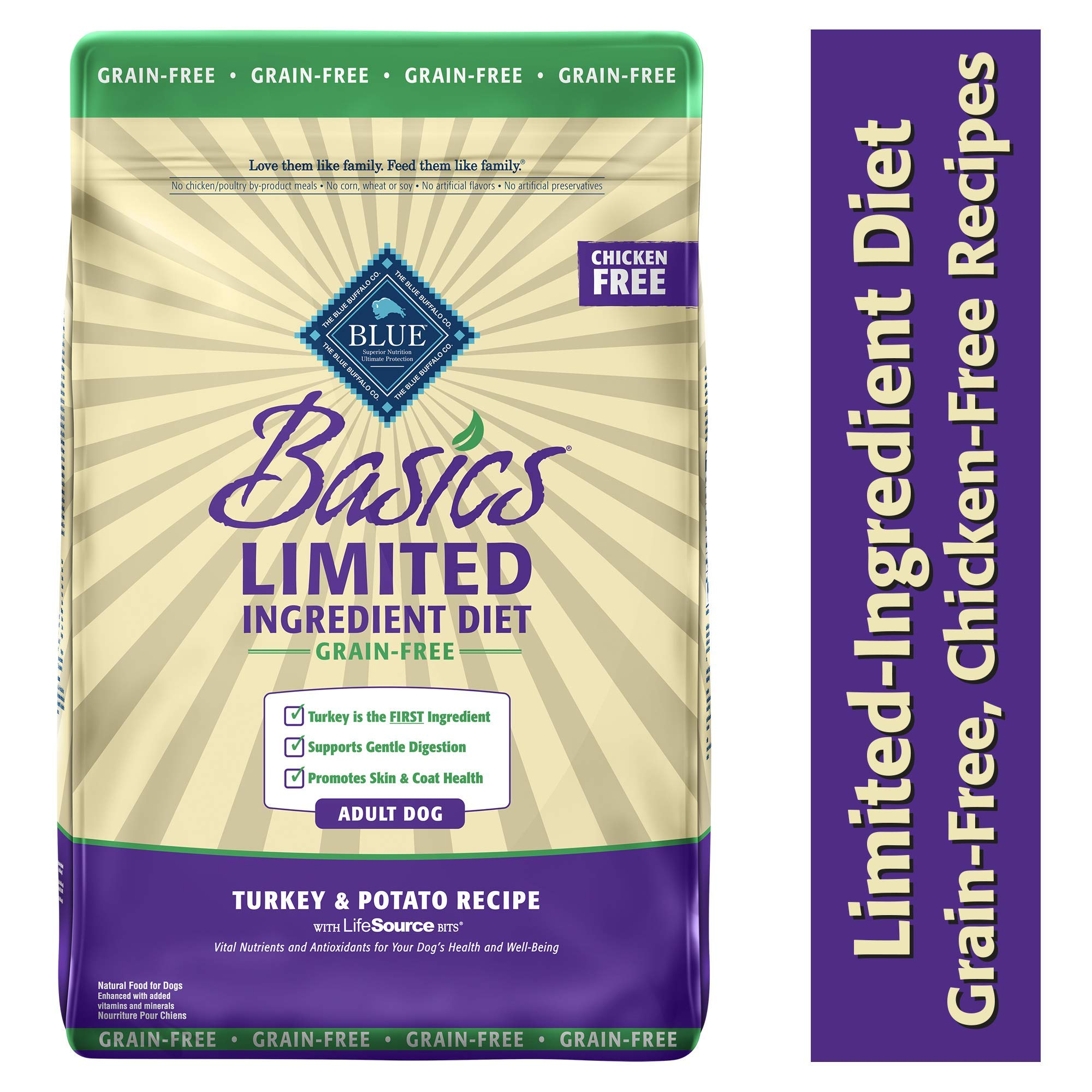 Blue Buffalo Basics Limited Ingredient Diet, Grain Free Natural Adult Dry Dog Food, Turkey & Potato 24-lb by Blue Buffalo