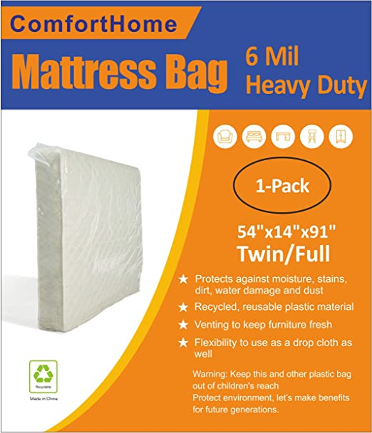 ComfortHome 4 Mil Extra Thick Mattress Bag Moving Storage Twin//Full Size