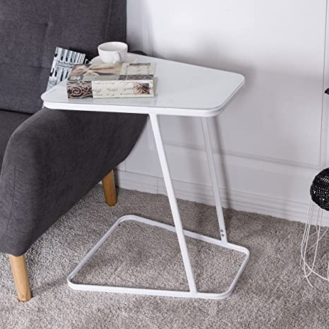 Tangkula Snack Table Home Glass Top Metal Frame Sofa Side End Table C  Shaped Table (