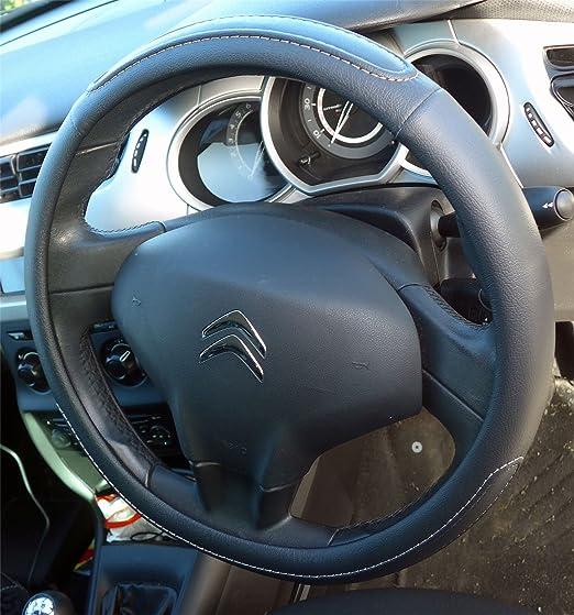 UKB4C Black Steering Wheel Cover Soft Grip Leather Look Glove Vivaro 01-14