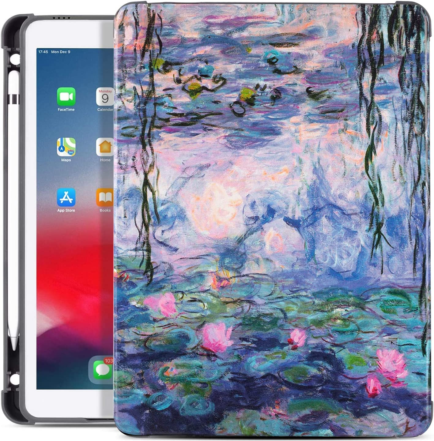 Drodalala 7th Generation ipad case/8th Generation ipad case/iPad Air case/10.5-inch iPad Pro case, Soft TPU Full Body Protection Leather Stand 10.2 inch iPad Case with Pencil Pen Holder (Lotus Flower)