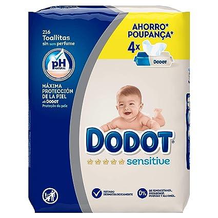 Dodot Toallitas para Bebé Sensitive - Paquete de 4 x 54 Toallitas - Total: 216 Toallitas