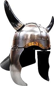 NAUTICALMARIME IR 80581 Medieval Viking Helmet, Large, Silver