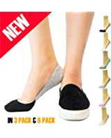 Thirty48 Women's No Show Loafer Socks, Boat Shoe Liners with Non Slip Grip