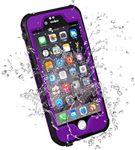 HESGI iPhone 6S Plus Waterproof Case, IP-68 Waterproof Shockproof Dust Proof Snow Proof Full Body Protective Case Cover for Apple iPhone 6S Plus iPhone 6 Plus 5.5[Purple]