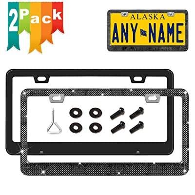 Newzon Black License Plate Frames - Bling 2 PCS Rhinestone Car Plate Frame Crystal Stainless Steel Licence Plate Front Back - SS20 Crystal Black Glass Diamond, 4 Plating Screw + 4 Washer (Rustproof): Automotive
