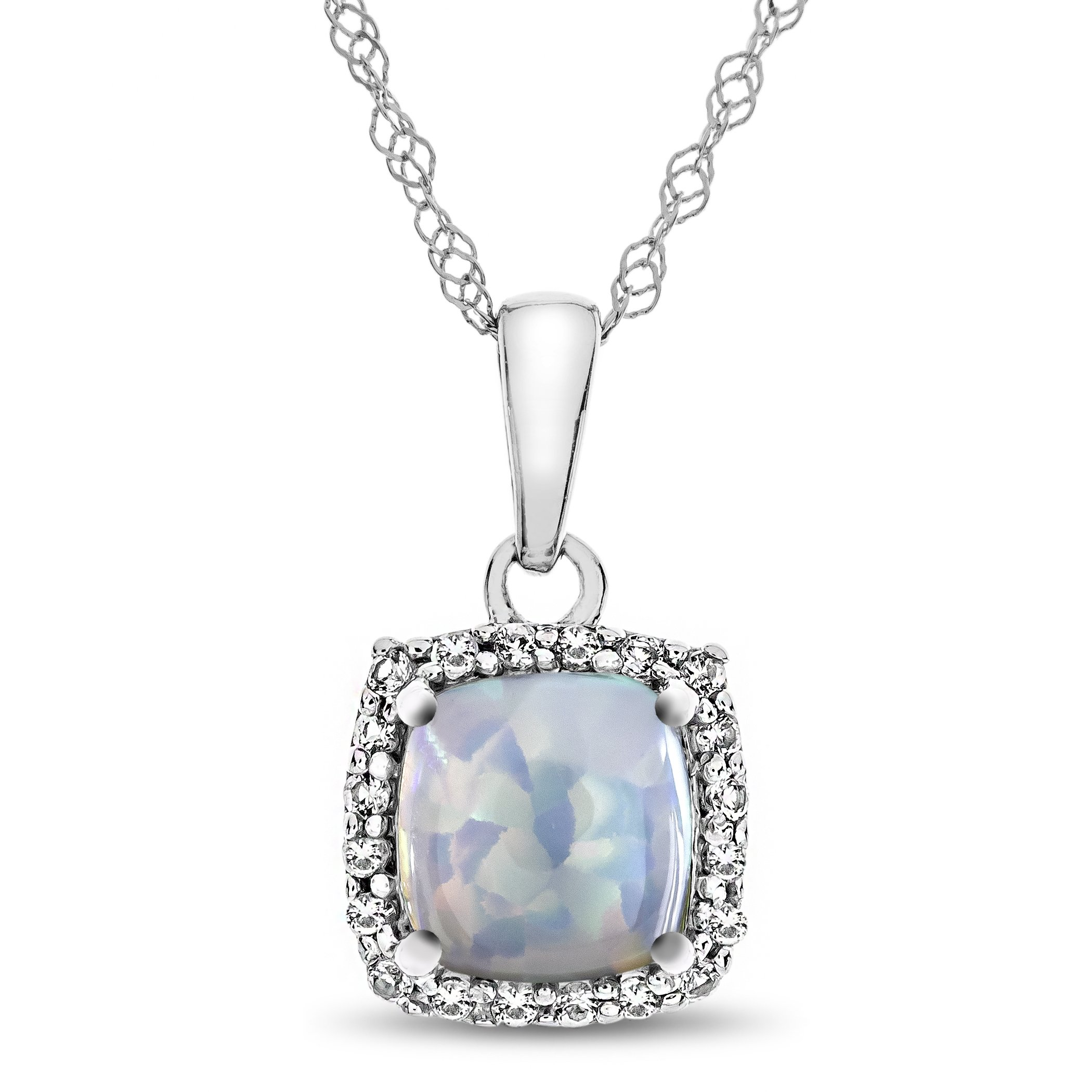 10k White Gold 6mm Cushion Created Opal with White Topaz accent stones Halo Pendant Necklace