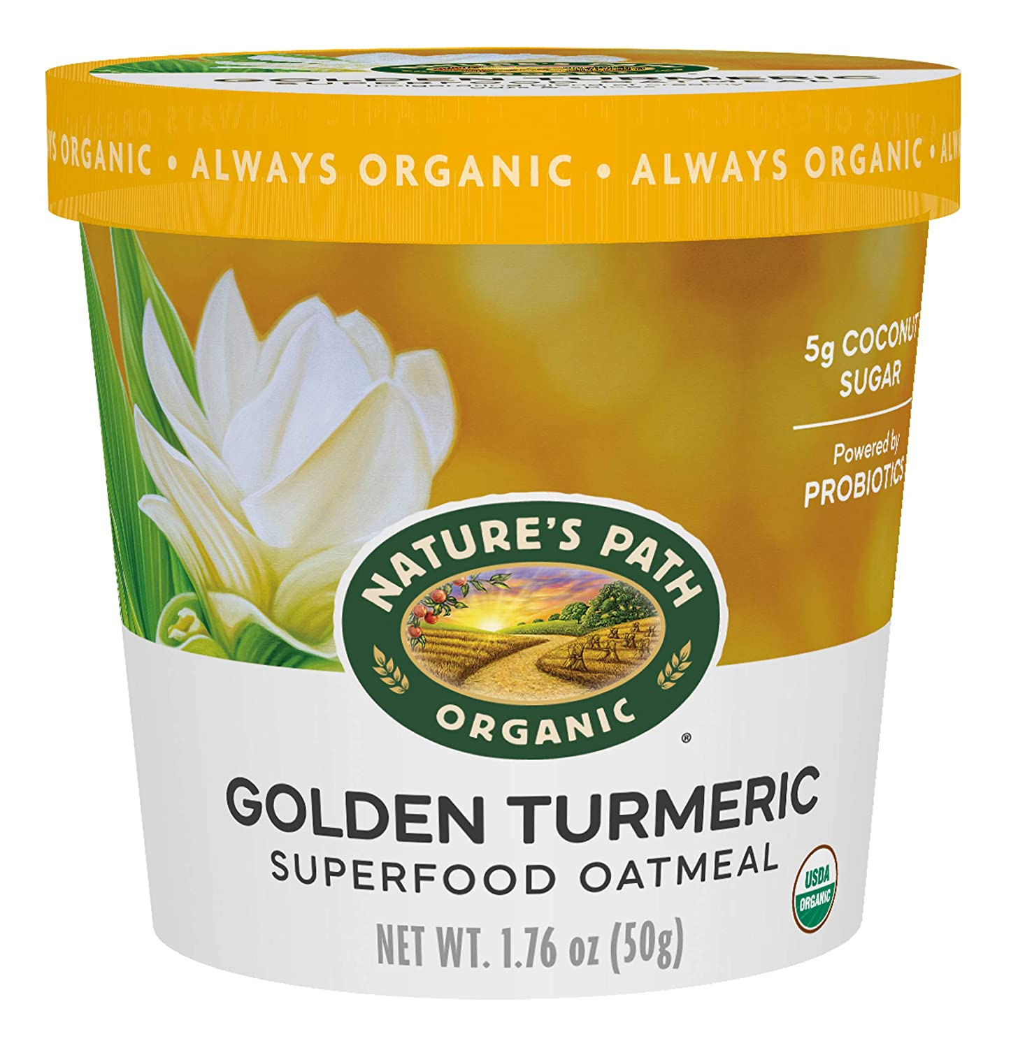 Nature's Path Organic Golden Turmeric Oatmeal Cup 1.76oz, 6Count