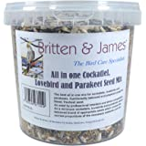 Britten & James Special all in one Cockatiel, Lovebird & Parakeet Seed mix from in a 2 Litre stay fresh resealable tub. The best all in one mix. Nutritionally balanced. Prepared using the finest seed