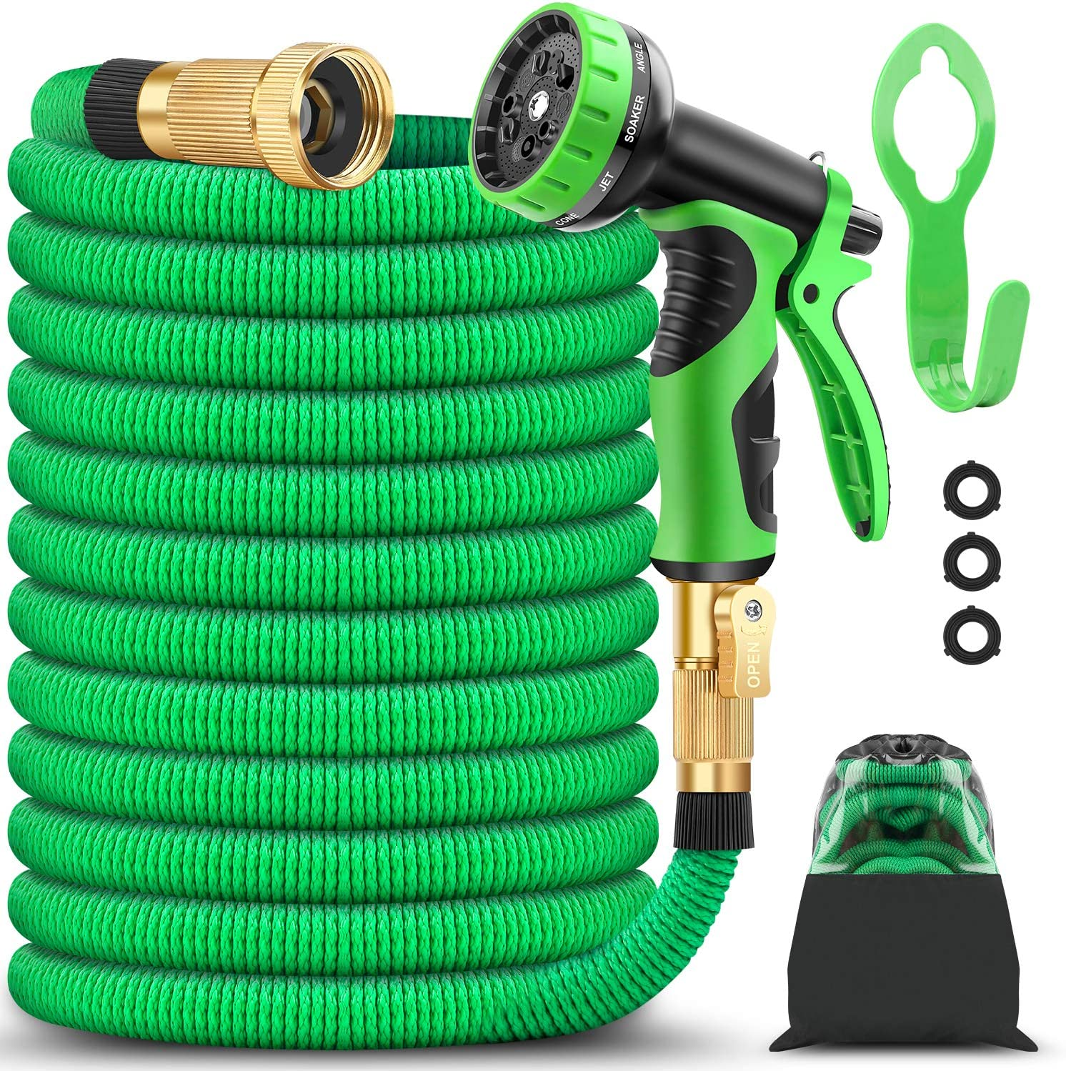 BAZOLOTA Garden Hose, Expandable 50FT Water Hose with 9 Function Nozzle, Flexible Gardening Hose with All Brass Connectors, Leakproof Durable Expanding Lightweight Watering Hose Pipe