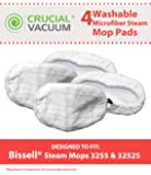 4 Highly Durable Washable & Reusable Microfiber Pads for Bissel Steam Mops; Compare to Bissell Steam Mop Part # 203-2158, 2032158, 3255, 32525; Designed & Engineered By Think Crucial