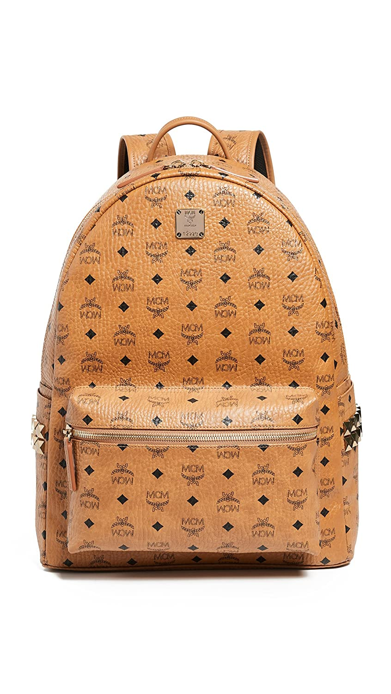 b12da68f9 Amazon.com | MCM Men's Stark Large Side Stud Backpack, Cognac, Tan, Print,  One Size | Casual Daypacks