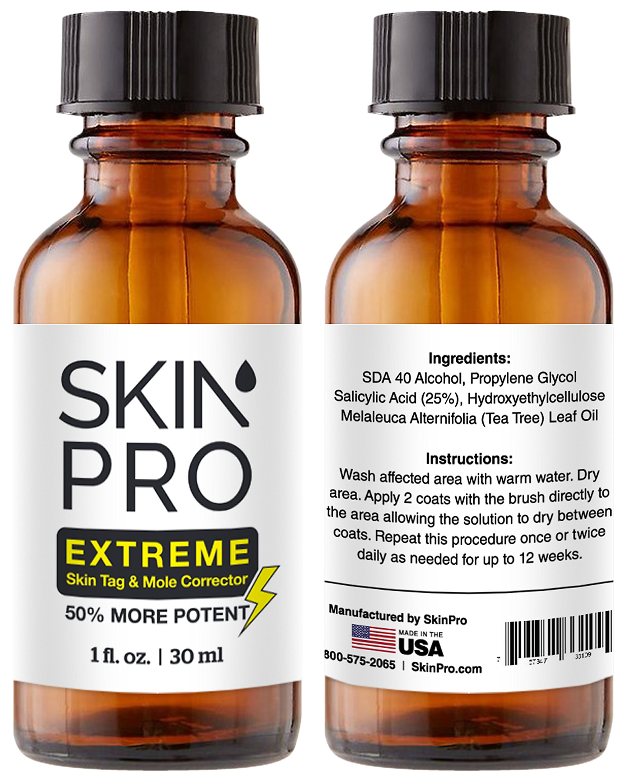 SkinPro EXTREME Skin Tag Remover & Mole Corrector | Fast Acting Physician Level 3 Formula | Industry Leading 25% Pure Salicylic Acid Concentration